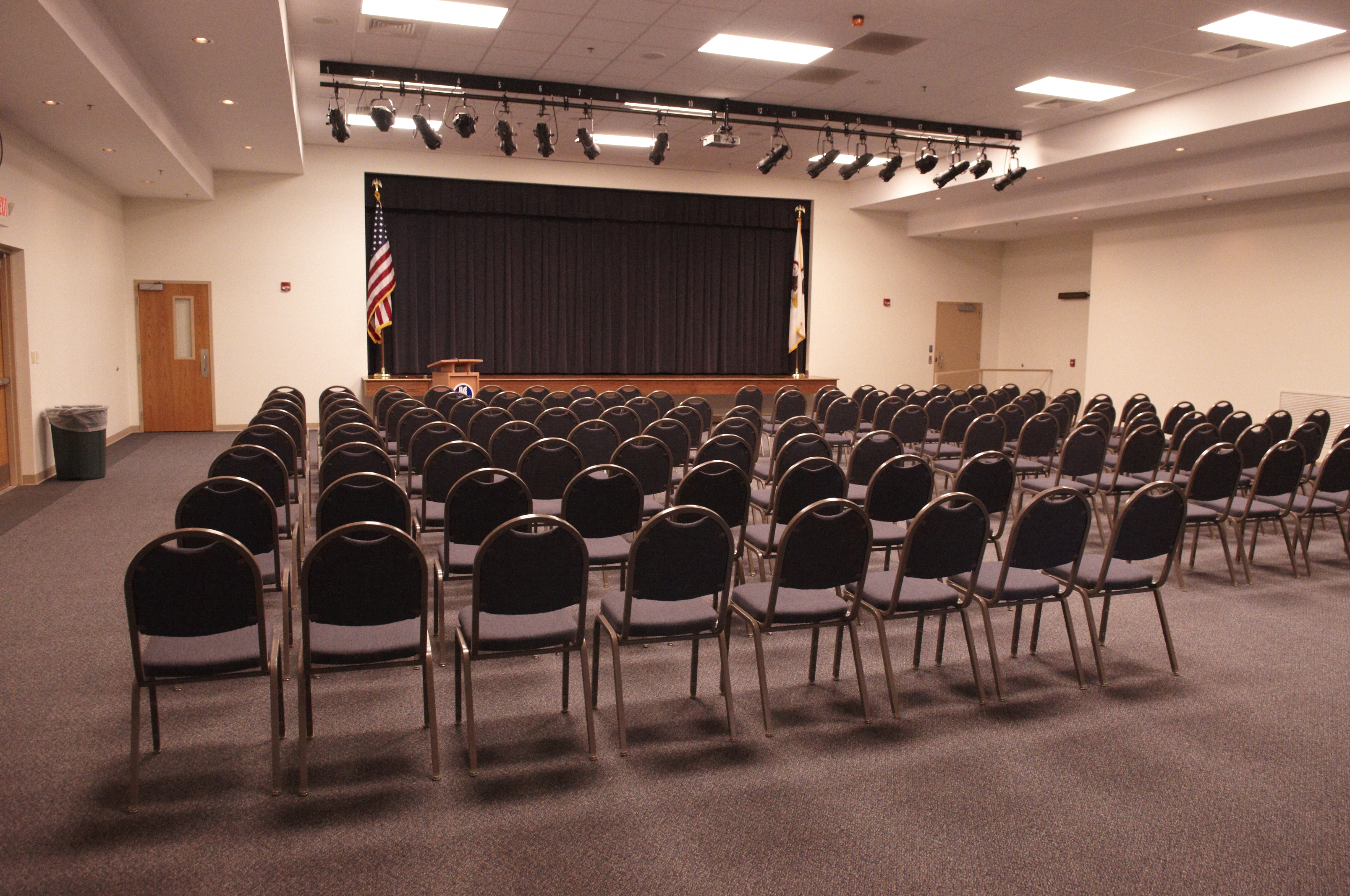 A view of Lincoln Land Community College Auditorium set up for a seminar
