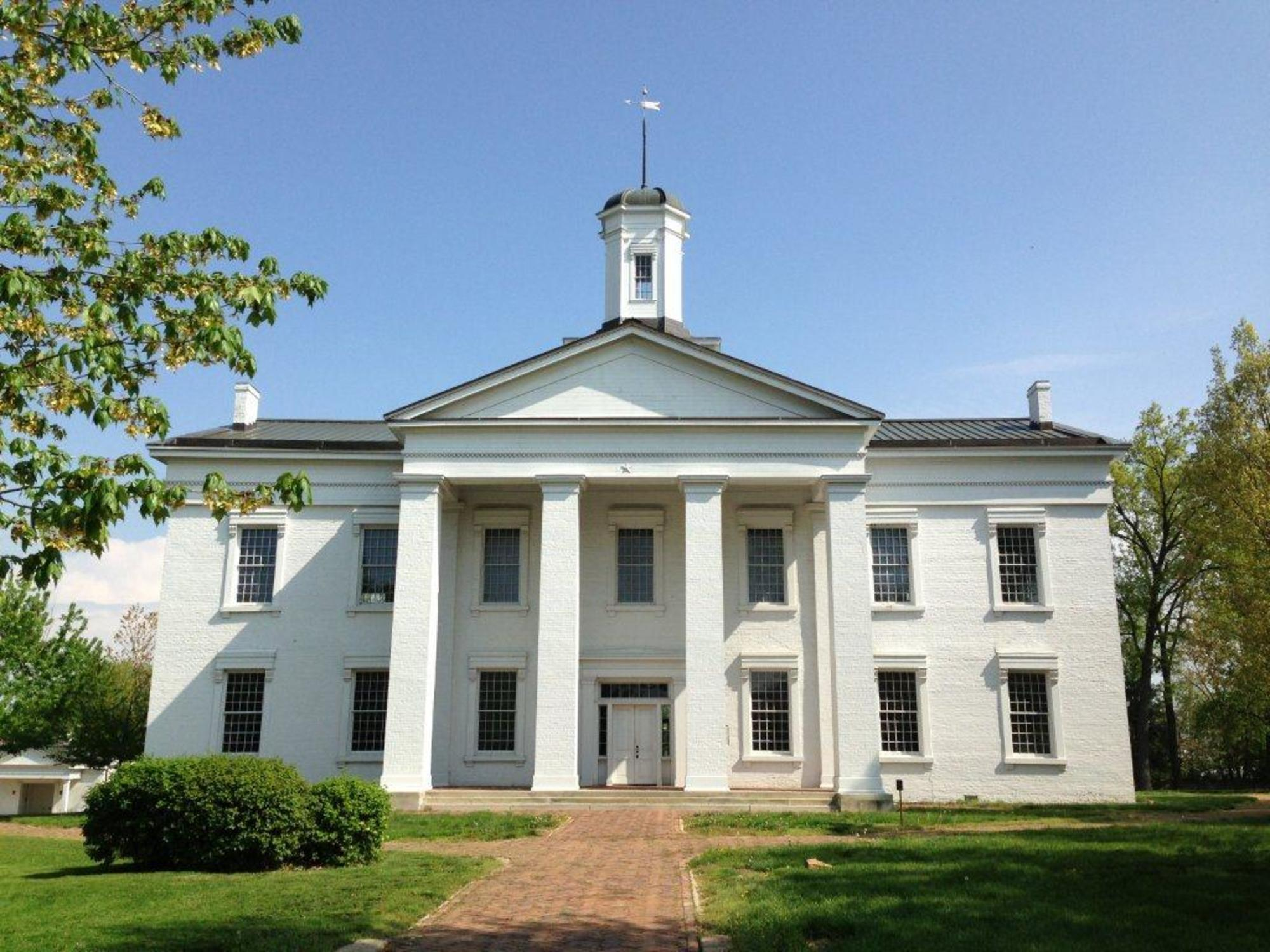 Exterior view of the first State House in Vandalia