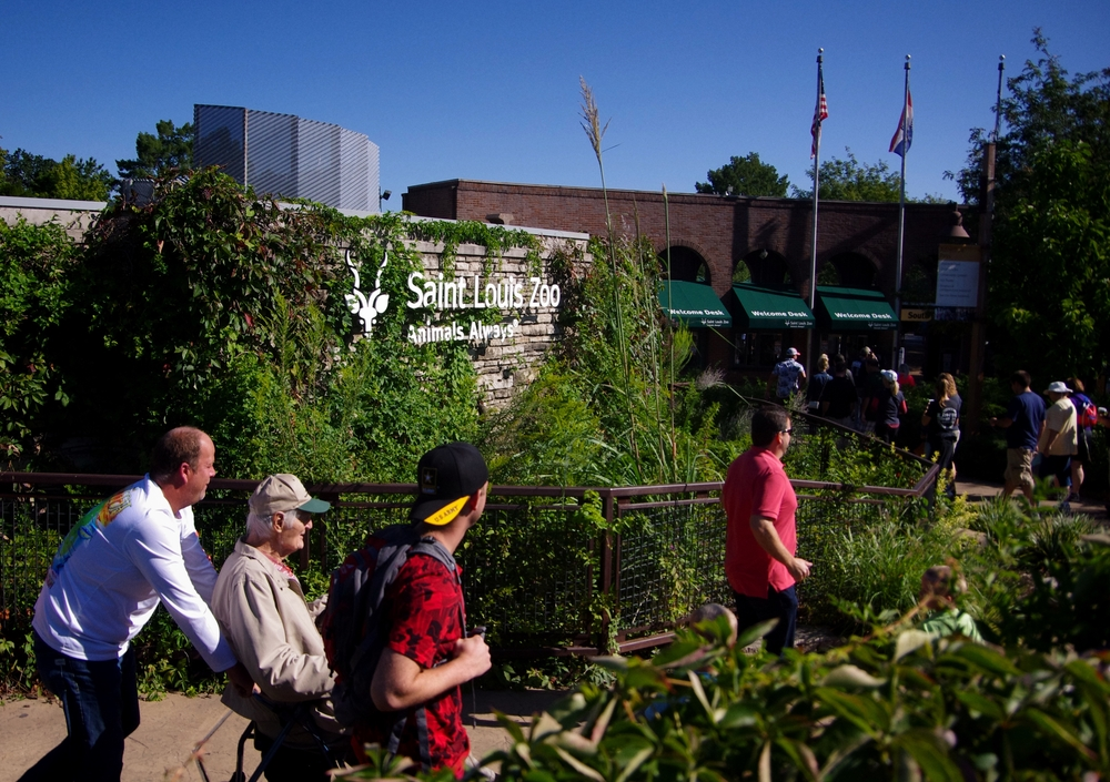 People walking past St. Louis Zoo entrance sign