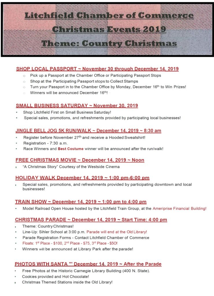 2019 Christmas Schedule of Events