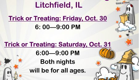 Flyer of the 2020 Litchfield Trick or Treating Hours