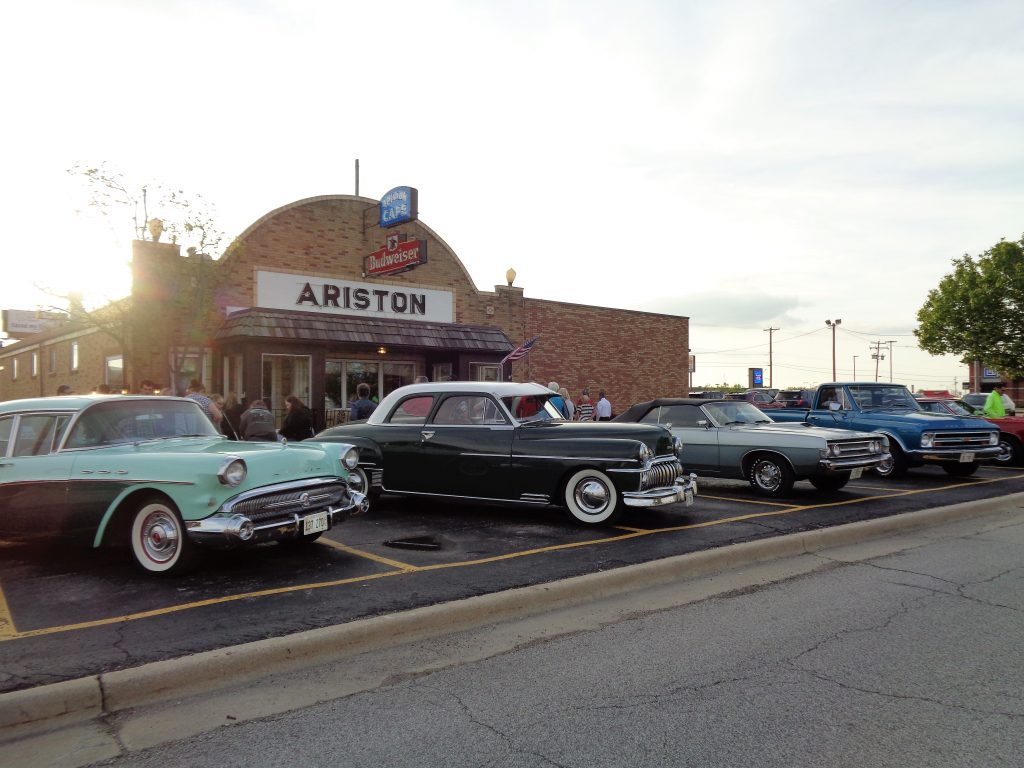 The Ariston Cafe with Classic Cars