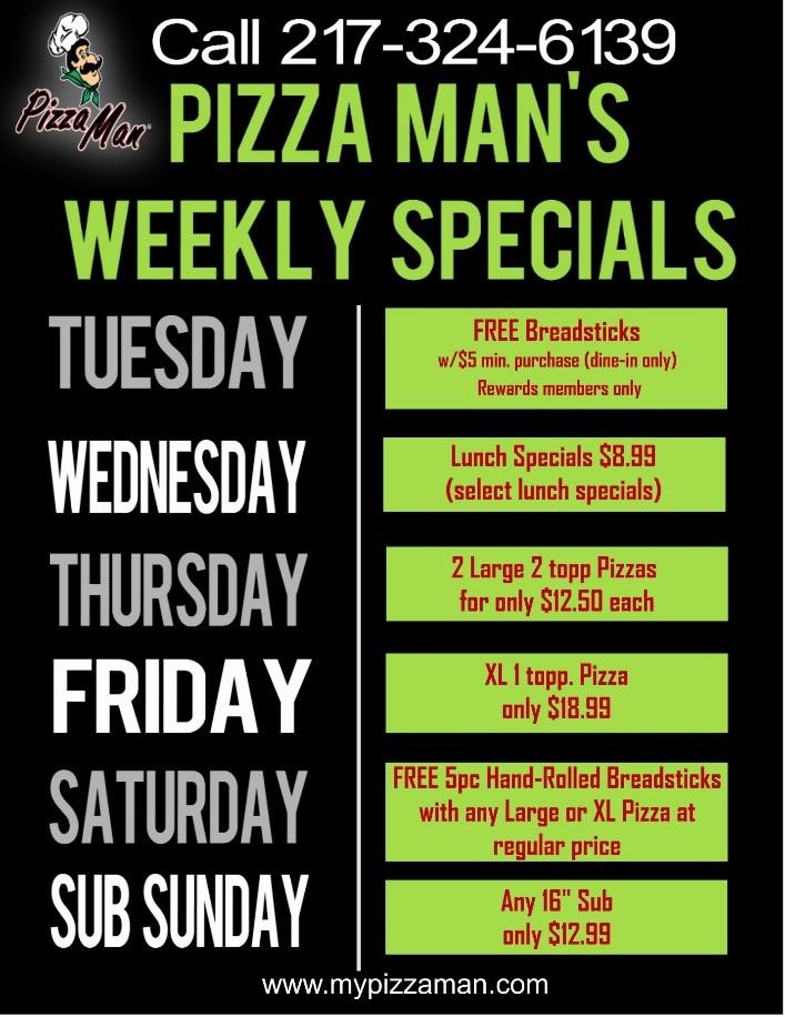 Pizza Man weekly specials